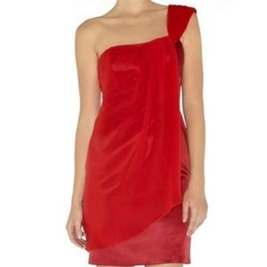 Karen millen one shoulder silk red cocktail dress